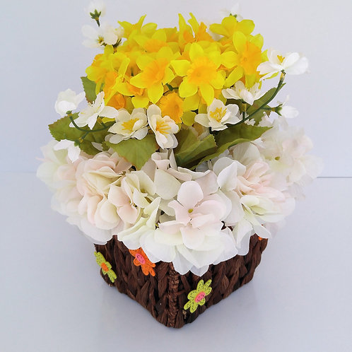Easter Floral Arrangement with Yellow Daffodils