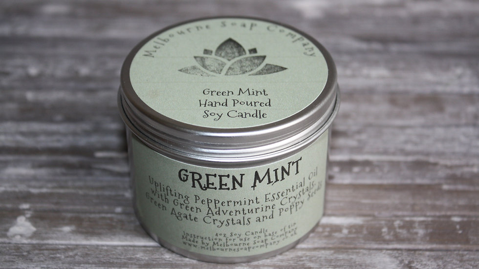 Green Mint Soy Candle in a tin