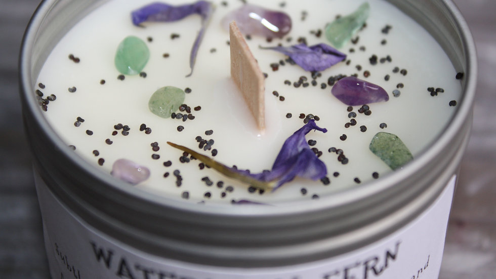 Waterlilly, Fern and Lavender Soy Candle in a tin