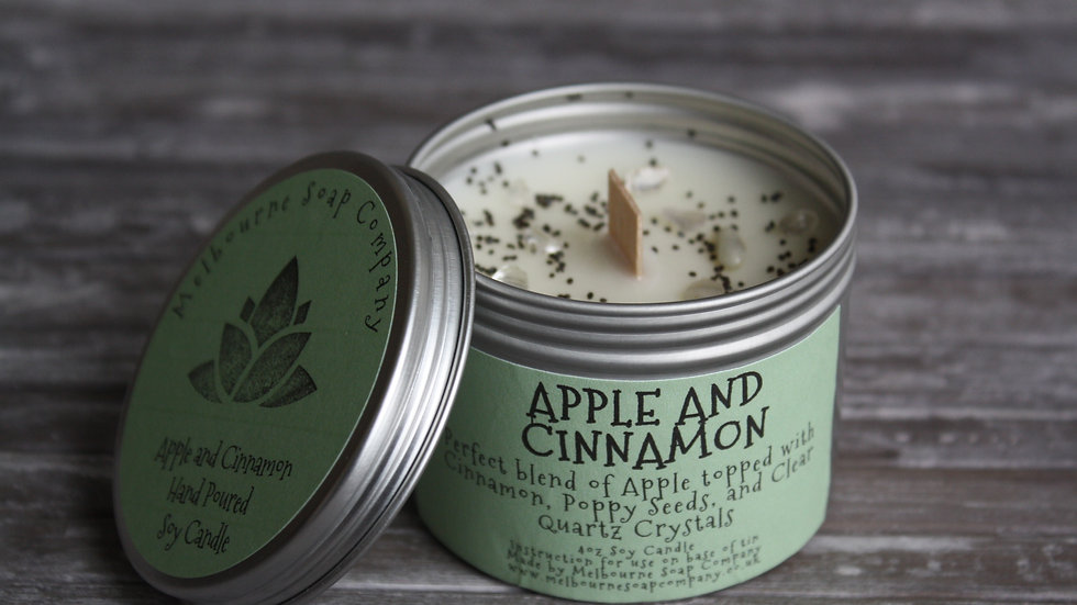 Apple and Cinnamon Soy Candle in a tin