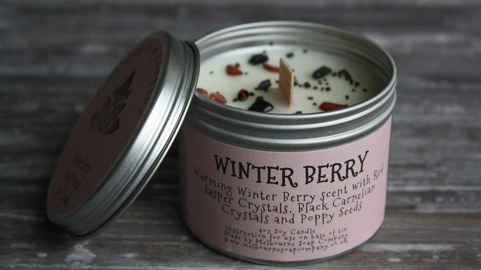 Winter Berry Soy Candle in a tin