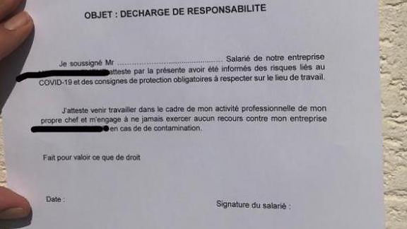 Décharge responsabilité entreprise COVID-19