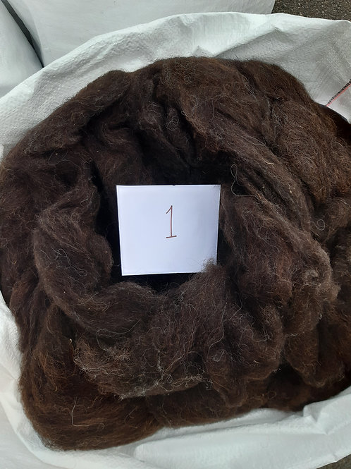 1 - 200g Dark Brown Hebridean / Alpaca Mix Sliver