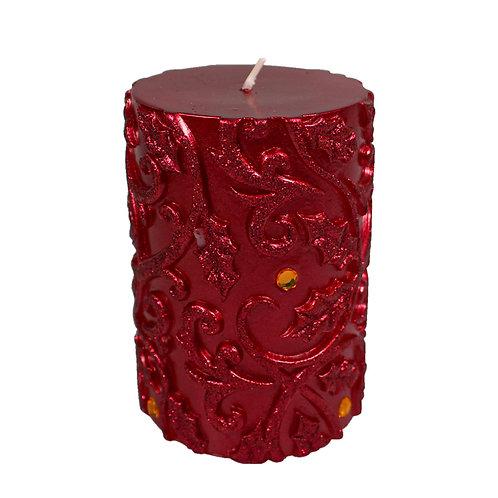 Red Metallic Pillar Candle