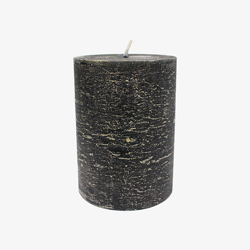 """3"""" x 4"""" Black Pillar Candle With Gold Foil"""