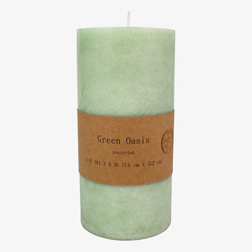 Mottled Scented Pillar Candle Green Oasis