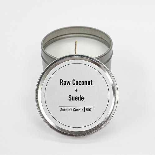 Raw Coconut & Suede Scented 5oz Tin Candle