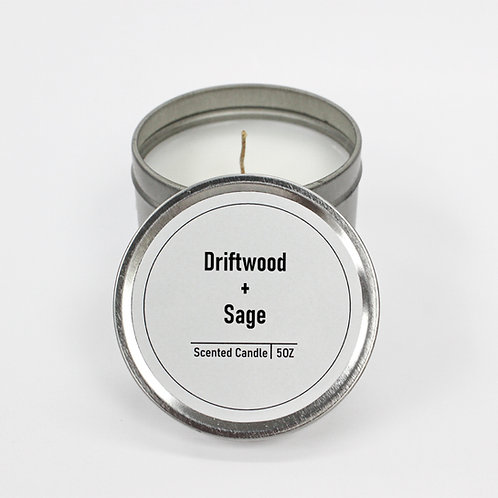 Driftwood & Sage Scented 5oz Tin Candle