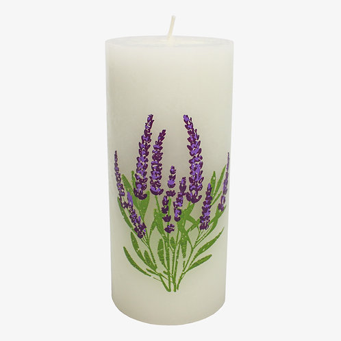 "2.625"" x 6"" Flower Pattern Pillar Candle"