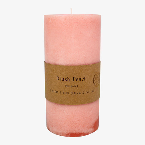 Mottled Scented Pillar Candle Blush Peach