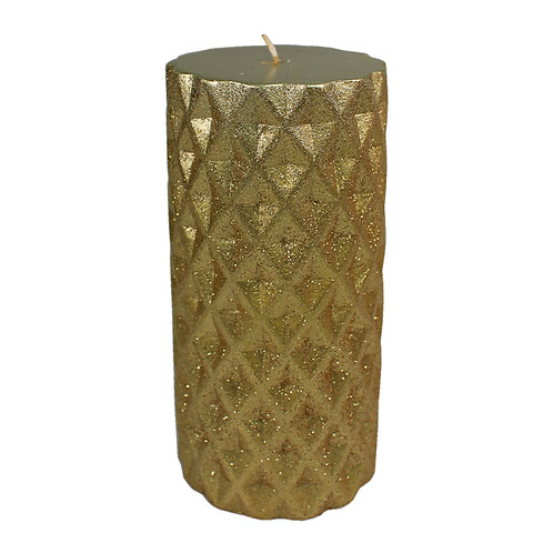 Gold Metallic Glitter Pillar Candle