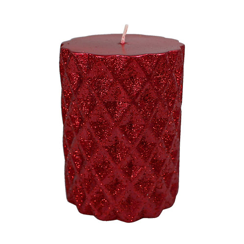 Red Glitter Pillar Candle