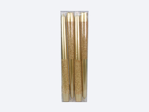 """10"""" Metallic Taper With Glitters (4 pack)"""