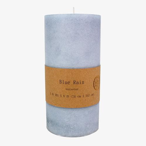 Mottled Scented Pillar Candle Blue Rain