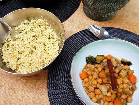 Vegan couscous met kikkererwten en kaneel