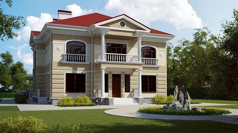 Проект двухэтажного жилого дома 0122