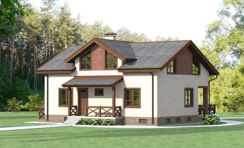 Проект жилого дома с цокольным этажом 0203