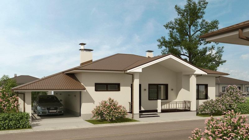 Проект одноэтажного жилого дома 0349