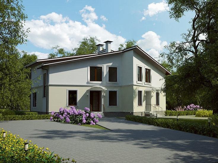 Проект двухквартирного жилого дома 0174