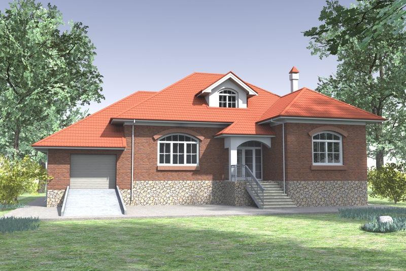 Одноэтажный жилой дом 0337