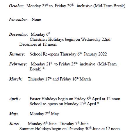 School Calendar 21/22