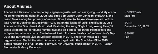 Anuhea Bio iTunes