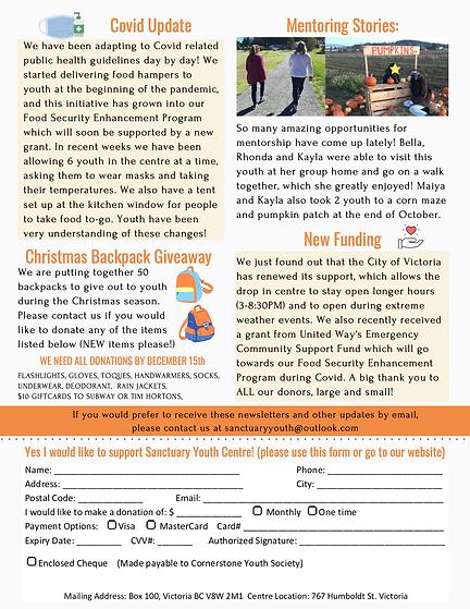Sanctuary Fall-Winter 2020 Newsletter co