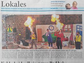 Circus Gioco auf Burg Wilhelmstein Clowns und Feuerzauber