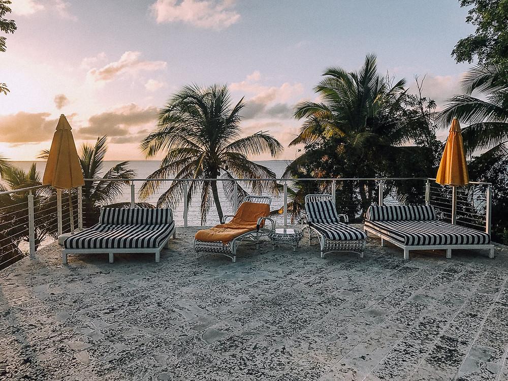 Sunset on the pool deck at Malliouhana.
