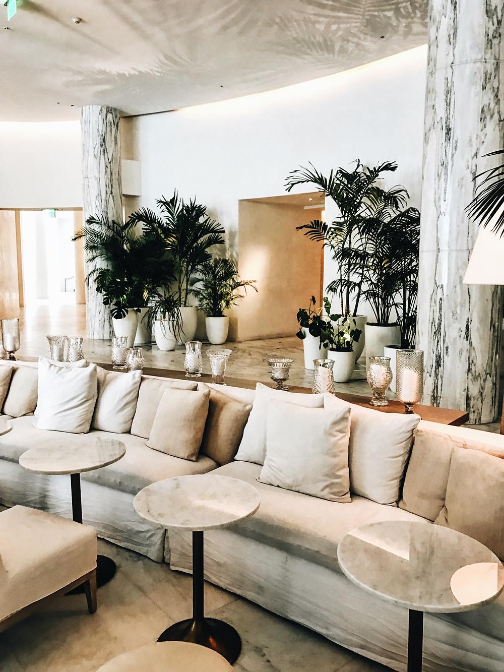 The lobby of the Miami Beach EDITION hotel.