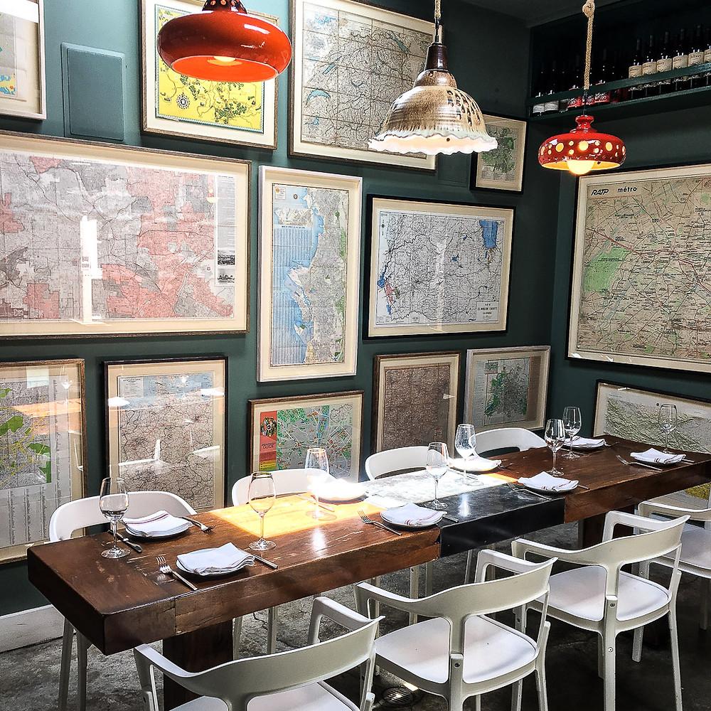 The map room at Salt Air in Venice, California.
