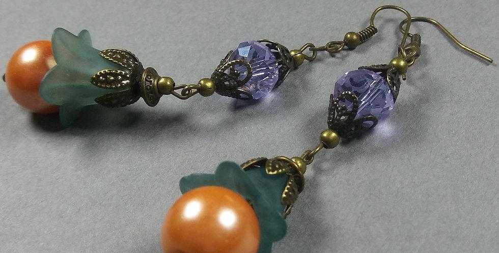 Teal, Peach Pearl & Lavender Floral Earrings