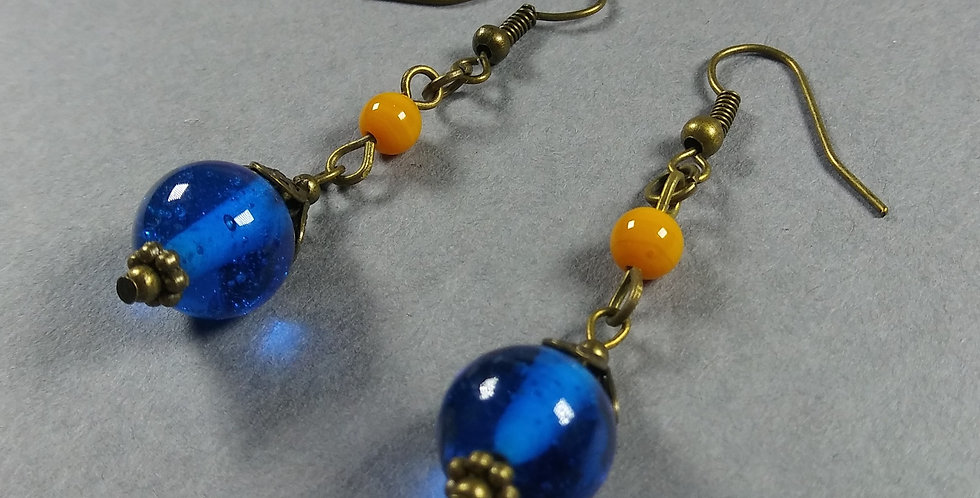 Blue & Orange Teardrop Earrings