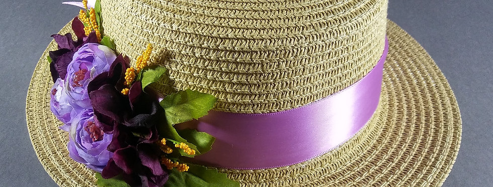 Beige Hat w/Lavender & Purple Flowers