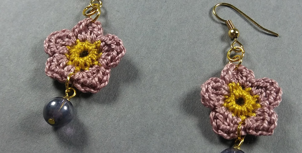 Green Floral Crochet Earrings