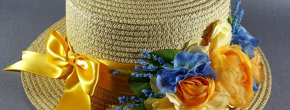 Beige Hat w/Yellow & Cornflower Blue Flowers