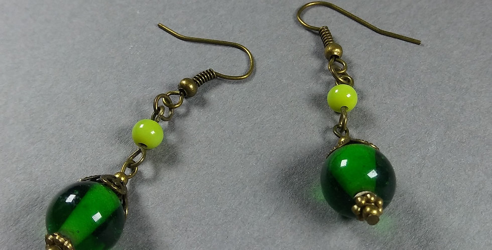 Green & Yellow Green Teardrop Earrings