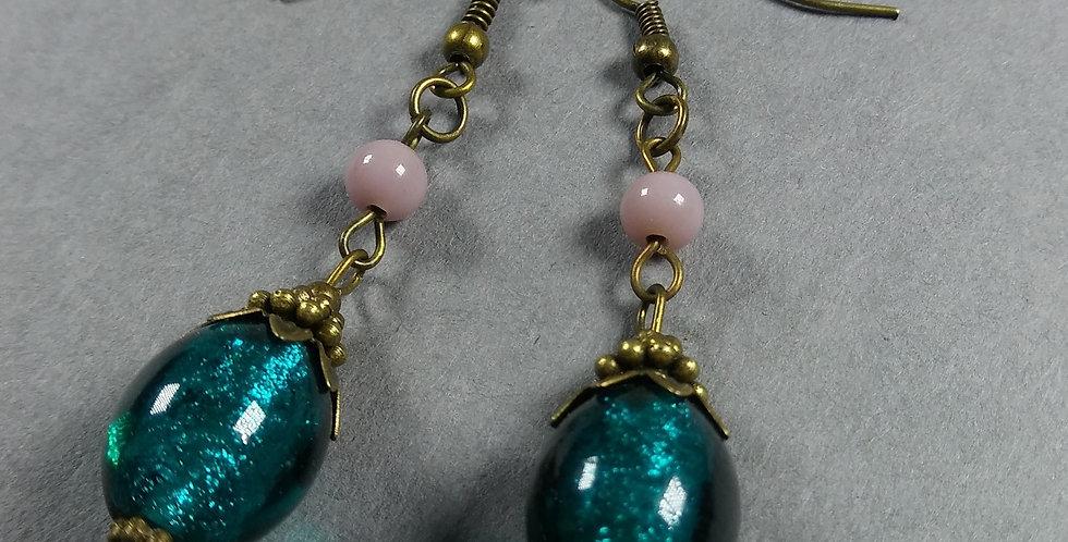 Oval Teal & Mauve Teardrop Earrings