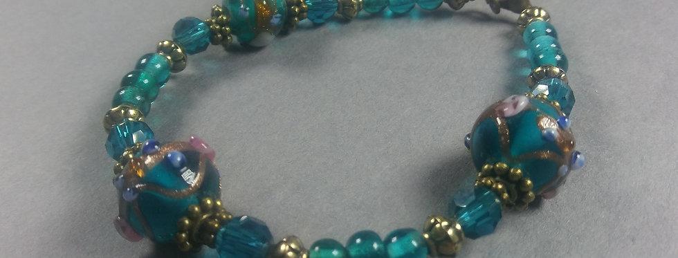 Light Green & Blue Beaded Bracelet