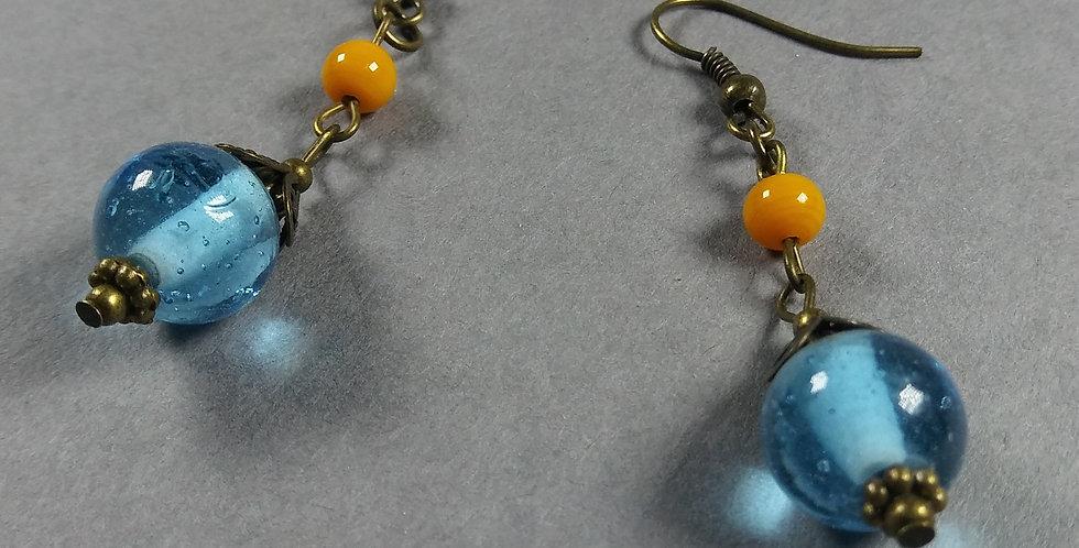 Pale Blue & Orange Teardrop Earrings