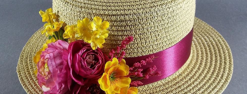 Beige Hat w/Fuchsia & Yellow Flowers