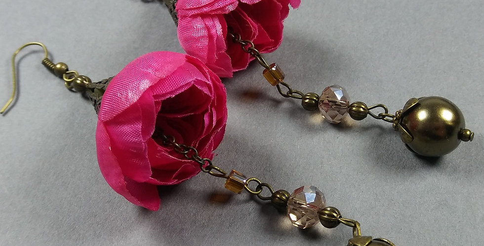 Fuschia Floral Earrings