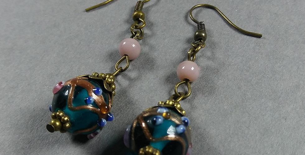 Lamp, Cerulian & Mauve Teardrop Earrings