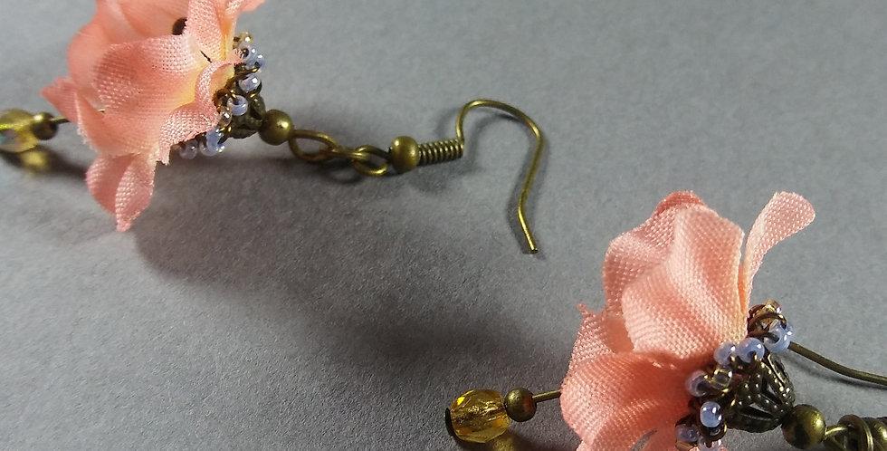 Pale Pink Flowered Earrings