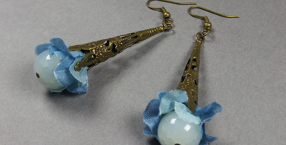 Light Blue Floral Earrings