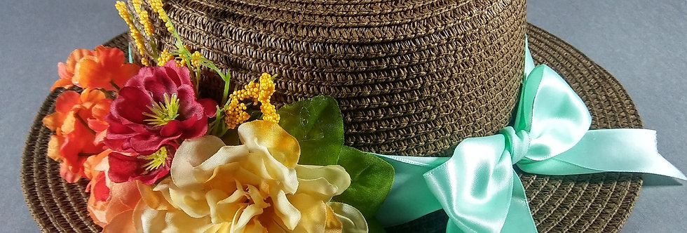 Chocolate Hat w/Seafoam, Mint & Orange