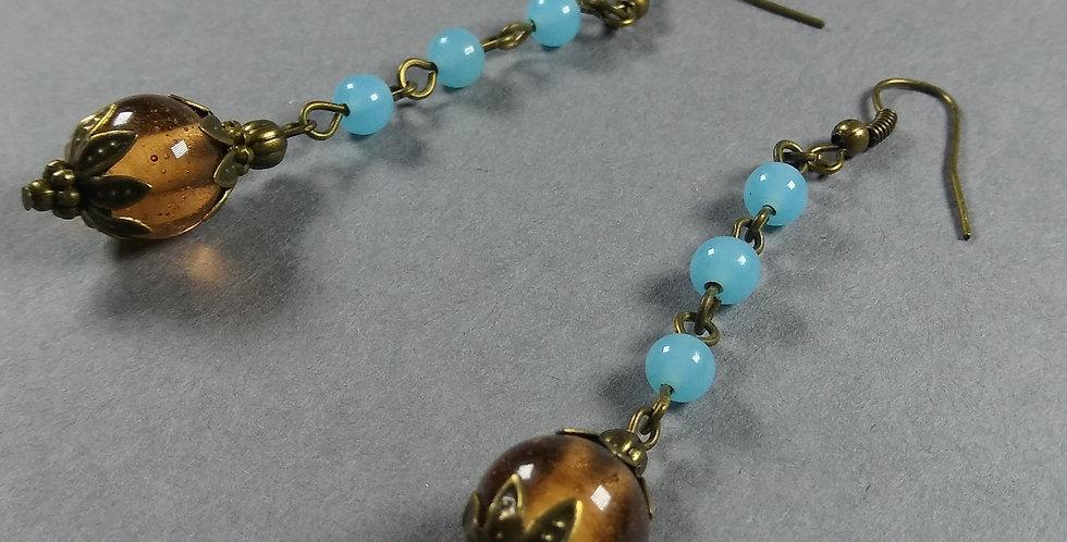Antique & Pale Blue Teardrop Earrings