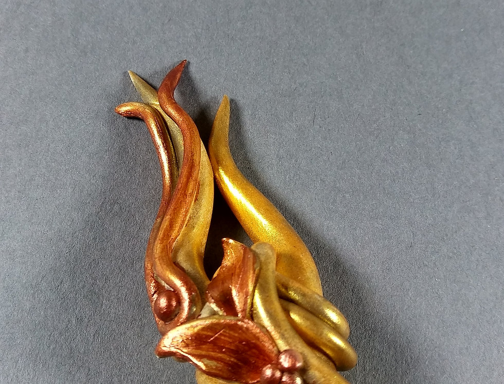 Gold Clay Hair Stick w/Floral Design