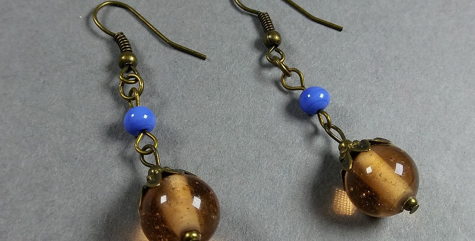 Antique & Cornflower Teardrop Earrings