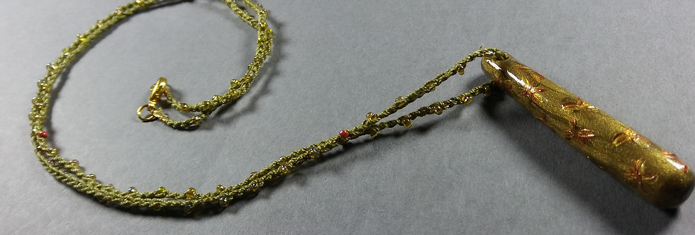 Stardrop Green & Gold Clay/Crochet Necklace